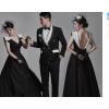 新款影楼主题服装黑色情侣写真拍照婚纱摄影法式复古露背齐地礼服